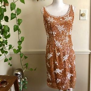 50s Vintage Apricot Sequined Wiggle Dress.